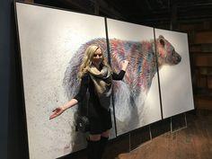 "Photo Sep ""Running Wild"" by Teshia Art ––– Original (Triptych) Acrylic on Canvas Painting & Artist Teshia at Park City Fine Art (Park City, UT). Cow Art, Triptych, Park City, Artist Painting, Galleries, Original Paintings, Art Gallery, Fine Art, Running"
