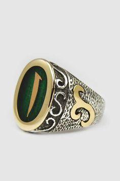 Özel El İşi Osmanlı Usülü Yeşil Mineli Elif Yazılı Gümüş Yüzük