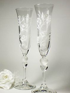 Hand Painted Sweetheart Champagne Toasting by HandPaintedPetals, $78.00