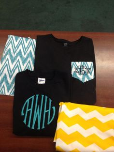 Chevron pocket Ts with initials $18.00 (long sleeve). Large 3 initials long sleeve Ts $16.00 or sweatshirts $18.00. Message or call to place your order. Many colors available in Ts, sweats, monogram fonts or chevron fabric!! We ship for $5.00 flat fee - We accept Visa, Mastercard and Discover 334-283-8397 @ Tiger Paw Tallassee, Alabama