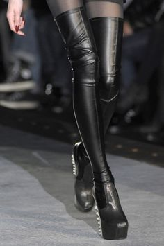 Black Leather Boots above the Knee