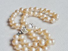 Vintage Faux Pearl Necklace with Rhinestone by VikisVarietyCraft, $15.00