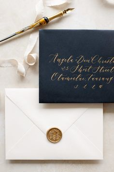 Vintage wedding stationery with calligraphy lettering. Wedding Invitation Envelopes, Save The Date Invitations, Addressing Envelopes, Wedding Invitation Design, Vellum Envelope, Calligraphy Envelope, Wedding Calligraphy, Modern Calligraphy, Wedding Crafts