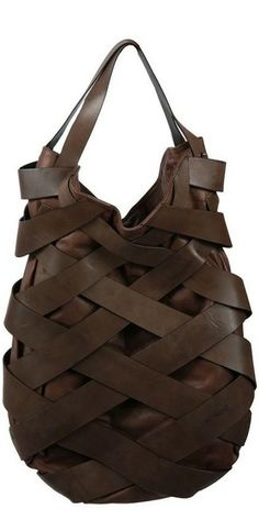 woven brown leather tote
