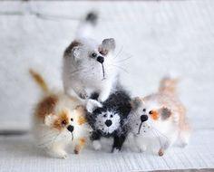 Four Amusing cats Art Sculpture Animal  Handmade by OlgaMareeva