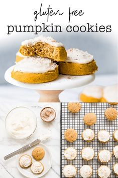 The Best Gluten Free Pumpkin Cookies recipe EVER! Soft, pillowy mounds of heaven. So moist and fluffy, they practically melt in your mouth! Gluten Free Pumpkin Cookies, Pumpkin Cookie Recipe, Gluten Free Deserts, Gluten Free Sweets, Gluten Free Baking, Pumpkin Recipes, Gluten Free Recipes, Cookie Recipes, Vegan Pumpkin