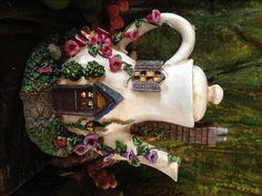 Fairy Tea Pot House Solar-Powered