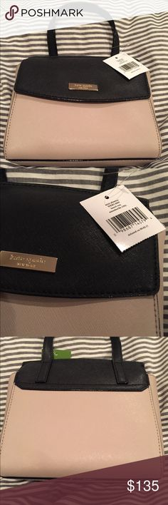 Kate spade Blk/almond mini alisanne purse! Kate spade mini alisanne purse! The gold purse pictures are from Kate spade website and are just to show more pictures and dimension. Can be held with hand or has longer straps to wear on shoulder, length hits about hip level. Selling for 135 kate spade Bags Crossbody Bags