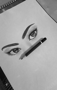 art, drawing, eye, eyebrows, eyes, makeup