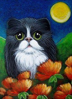 Art: TUXEDO KITTEN CAT IN MY POPPY FLOWERS GARDEN by Artist Cyra R. Cancel