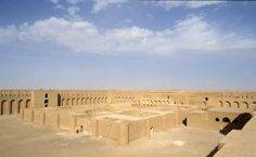interior view  from the top wall of Ukaider castle. Karbala province, Iraq