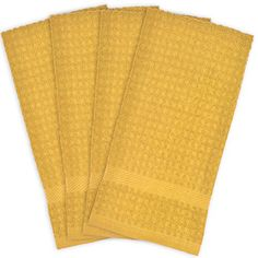 DII Cotton Waffle Terry Dish Towels 15 x 26 Set of 4 Ultra Absorbent Heavy Duty Drying  Cleaning Kitchen TowelsMustard * Check this awesome product by going to the link at the image.