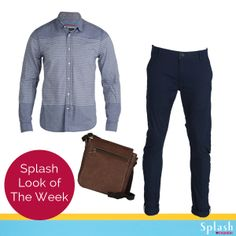 Looking for the perfect head-to-toe outfit to flaunt this season? Here's a casual yet smart combination of a striped denim shirt, chinos and a leather sling! #Splash #Fashion #SpringSummer #Casuals #SplashIndia