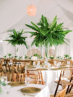 Wedding of the Day: A Tropical Celebration Off the Florida Coast Tropical Wedding Centerpieces, Tropical Wedding Reception, Tropical Weddings, Wedding Receptions, Hawaiian Wedding Flowers, Hawaii Wedding, Destination Wedding, Flower Decorations, Wedding Decorations