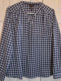 Bit and Bridle Women's Lt/Dk blue Checked Flannel pullover shirt L NWOT…