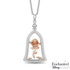 Enchanted Disney Belle 1/5 CT. T.W. Diamond Rose in Dome Pendant in Sterling Silver and 10K Rose Gold - 19