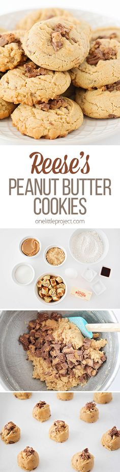 These Reese's peanut butter cookies are soft in the middle, crisp on the edges, and loaded with Reese's. The perfect treat for any peanut butter lover! Jam Cookies, Yummy Cookies, Baking Recipes, Cookie Recipes, Dessert Recipes, Peanut Butter Recipes, Peanut Butter Cookies, Easy Desserts, Delicious Desserts