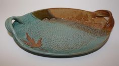 Pottery platter with leaf detail. I'm a sucker for blues & browns when it come to glaze colors.