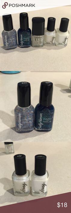 Nail polish 2 from Sally Hansen called Ice Queen and the other Big Teal. 2 by Icing called Little White Lie and Toes in the Sand.  Forever 21 called Crystal. Other