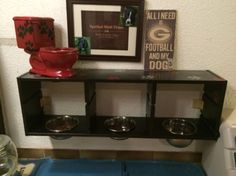 Elevated dog bowl / Pet Feeding Station Hack - IKEA Hackers; I would separate all of these for my dogs. They will eat out of each others bowls if put that close together.