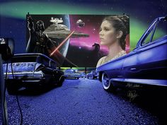 Adam Scott Rote - Drive in Daze - Carrie Fisher - MEDIUM: Limited Edition Giclee Canvas SIZE: 20x26