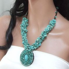 Turquoise Cluster Mosaic Necklace