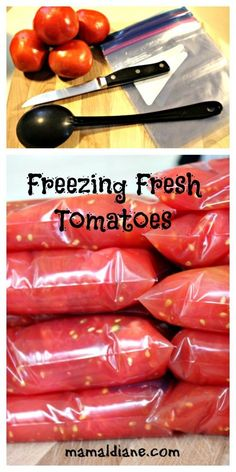 Tomatoes Freezing Fresh Tomatoes is so simple and a perfect way to enjoy your harvest all year long. No special tools needed.Freezing Fresh Tomatoes is so simple and a perfect way to enjoy your harvest all year long. No special tools needed. Freezing Vegetables, Frozen Vegetables, Fruits And Veggies, Freezing Fruit, Freezing Tomatoes, How To Freeze Tomatoes, How To Preserve Tomatoes, Freezing Tomato Sauce, Freezing Green Beans