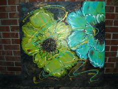 "Turquoise and Green Flower Texture Abstract  Acrylic Art on Wood Canvas 36"" x  36"" x 2"" Art by Jill McCulley on Etsy, $349.00"
