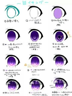 Hi there I Lately drew some CellShading, and thought, Hmm cellshading eye tutorial! ^^ it's all about layer modes and adding details! ^^ All colors are optional of course! ^^ I used dreamy purple t. Eye Drawing Tutorials, Digital Painting Tutorials, Digital Art Tutorial, Drawing Techniques, Art Tutorials, Anime Tutorial, Eye Tutorial, Drawing Skills, Drawing Tips