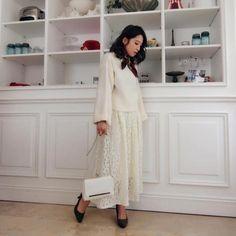 女っぽい雰囲気が魅力春のマキシ丈スカートコーデ集
