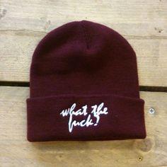 WTF Burgundy Embroidered Beanie Hat  Street Wear  by LynseyLuu, £12.00