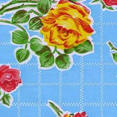 "Oilcloth Tablecloth Square 47"" Aqua Rose w/ Red Trim (WITH HOLE)"