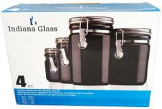 Indiana Glass 4 Piece Canister Set by WMU. $86.70. Please refer to the title for the exact description of the item.. High quality items at low prices to our valued customers.. All of the products showcased throughout are 100% Original Brand Names.. We proudly offer free shipping. We can only ship to the continental United States.. 100% Satisfaction Guaranteed.. Indiana Glass 4 Piece Canister Set. Ceramic canister set with stainless steel lid. Store your staples like...