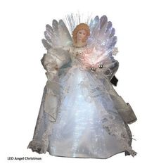 LED Angel Christmas Fiber Optic White And Silver 12-Inch Figurine Ornament Gown #KurtAdler