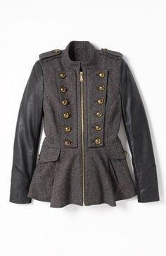 219f6d8e957d BCBGeneration Tweed   Faux Leather Military Jacket