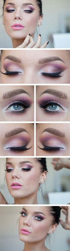 9 way to get a pink eye makeup | Pink and White Ey...