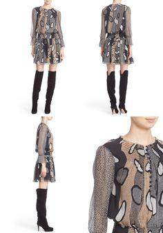 4bbc8bd3e82 Diane von Furstenberg Kelley Print Silk Smocked Blouson Dress - In My Closet