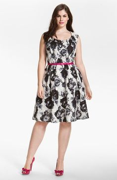 Donna Ricco Floral Print Fit & Flare Dress (Plus) available at #Nordstrom