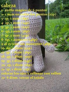 Patrón gratis amigurumi de patron base muñeco Free Amigurumi pattern of the doll's basic pattern Crochet Doll Pattern, Crochet Patterns Amigurumi, Baby Knitting Patterns, Amigurumi Doll, Crochet Dolls, Doll Patterns, Crochet Baby, Free Crochet, Knit Crochet