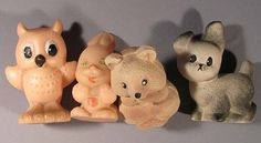 Toy Set 4 Doll Vintage Rubber Soviet Russian Old Dog Owl Rabbit USSR CCCP