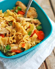 These chicken soup noodles are just like chicken noodle soup but without all the broth! Just saucy noodles, chicken, and vegetables. Chicken Soup Recipes, Pasta Recipes, Dinner Recipes, Cooking Recipes, Vegetarian Chicken, Recipe Chicken, Easy Cooking, Casserole Recipes, Cooking Tips
