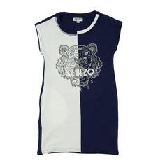 0632fd86db778 Kenzo Kids Girls Half and Half Navy Dress with Tiger Print Girls  Sleeveless