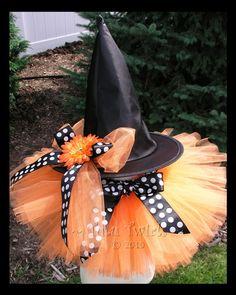 PoLKA DoT PUMPKIN WITCH 2pc Costume Set (tutu and witch hat)