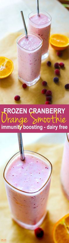 immunity boosting frozen cranberry orange A triple whammy smoothie of Vitamin C without a ton of extra sugar. Just natural fruit sugars from orange and cranberry! Plus it's anti-oxidant rich and dairy free, not to mention tastes pretty darn delicious. Frozen Fruit Smoothie, Fruit Smoothie Recipes, Juice Smoothie, Smoothie Drinks, Cranberry Smoothie, Nutribullet Recipes, Dairy Free Smoothie, Coconut Milk Smoothie, Smoothie Cleanse