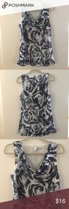 "Banana Republic abstract rose print top Absolutely gorgeous abstract rose print in shades of gray. Double layered 100% polyester. Nice drop at neckline. Approx. measurements laying flat. Bust 18"" across length 27.5"" top of shoulder to hem. Banana Republic Tops"