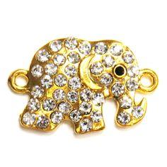 Gold/Crystal Elephant Connector