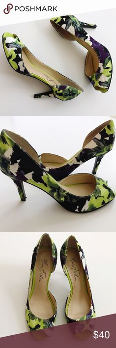 {Marc Fisher} Floral D'Orsay Peep-Toe Heels Vibrant purple, green, & white floral D'Orsay peep-toe heels from Marc Fisher. Size 7.5. TTS. Excellent condition. Worn once. Marc Fisher Shoes Heels