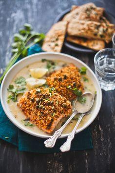 Panko Chili Crusted Salmon with Lemon Brined Caper Piccata Sauce and Nigella Garlic Flatbread