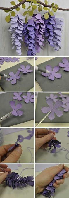 Decoration selection: life in purple - HomeDBS Handmade Flowers, Diy Flowers, Fabric Flowers, Paper Flowers, Crafts For Teens To Make, Diy Crafts To Sell, Easy Crafts, Paper Heart Garland, Paper Flower Garlands