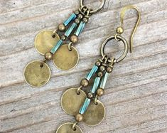 Bohemian Earrings - Boho Jewelry - Boho Chandelier Earrings - Bohemian Jewelry - GypsyJewelry - Brass Dangle Earrings